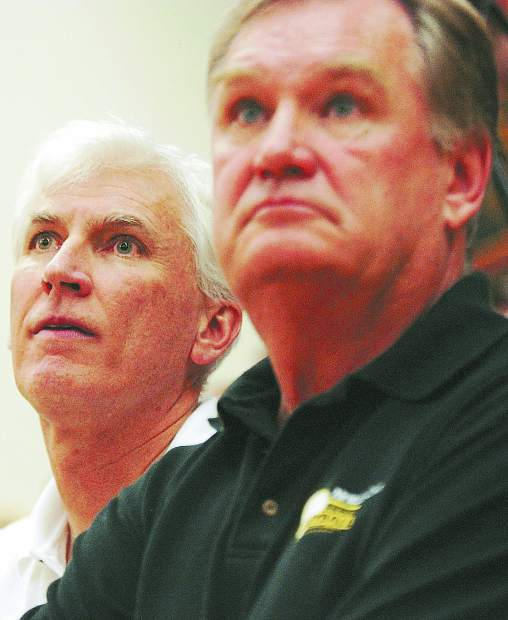 With Bob Rogers (left) and Larry Peterson (right) co-coaching the Lady Miners varsity volleyball team, Nevada Union built one of the greatest high school volleyball dynasties of all time, winning six straight Sac-Joaquin Section Division I Championships (2002-2007) and three Northern California titles (2003, 2004, 2007).