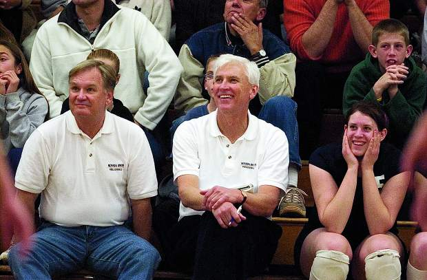 With Bob Rogers (right) and Larry Peterson (left) co-coaching the Lady Miners varsity volleyball team, Nevada Union built one of the greatest high school volleyball dynasties of all time, winning six straight Sac-Joaquin Section Division I Championships (2002-2007) and three Northern California titles (2003, 2004, 2007).