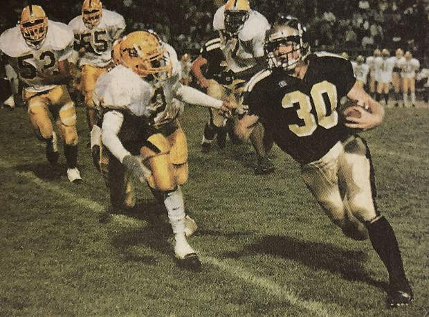 On the gridiron, Heidelberger's career marks are historic. From 1998-2000, the electric running back carved his way through defenses for a total of 3,409 rushing yards, 5,114 all-purpose yards and a record 69 total touchdowns.