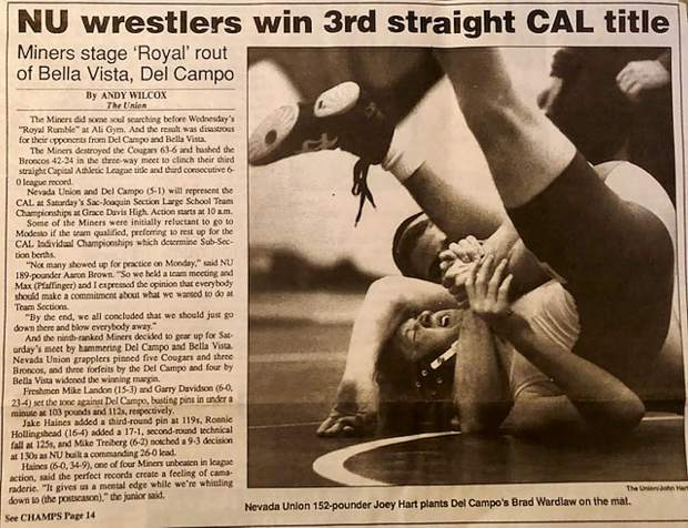 The Union press clippings from the mid-1990s chronicle Joey Hart's outsanding high school wrestling accomplishments.