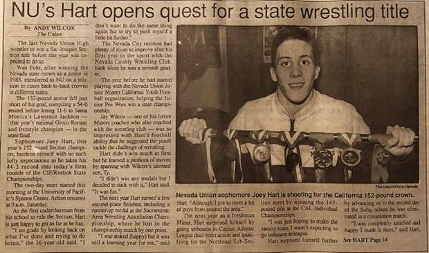 The Union press clippings from the mid-90s chronicle Joey Hart's outsanding high school wrestling accomplishments.