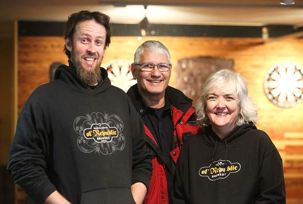 From left, Sky Mowen, Patrick Sullivan and Heather Pitts are among those who will be shaving their heads to fight children's cancer during the Brave The Shave event from noon to 5 p.m. on Saturday at ol' Republic Brewery in Nevada City.