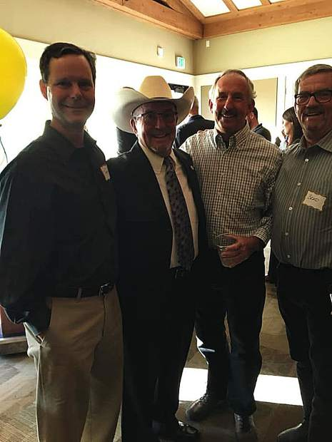 Hank Weston was honored last week as the Penn Valley Rotary Club's Distinguished Citizen of the Year. He was surprised at the awards dinner by his three brothers who traveled from far flung places to join Hank (left to right) Brothers Tony Benedetti, Hank Weston, Mark Weston, and Brad Benedetti.