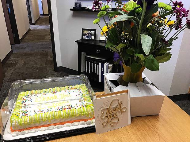 In honor of National Public Safety Communicators Week, the Grass Valley Police Department delivered to local dispatchers a cake, flowers, and a thank you card.