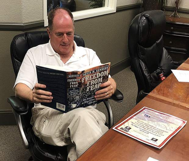 Some contestants, including Steve Baker of event sponsor Diamond Baker Mitchell, LLP, have been caught studying in advance of the League of Women Voters' Constitutional Challenge competition to be held May 3.