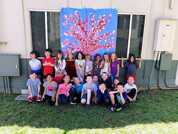 """Melissa George's second-grade class at Bell Hill Academy created a Japanese """"Cherry tree"""" as part of their studies about Japan."""