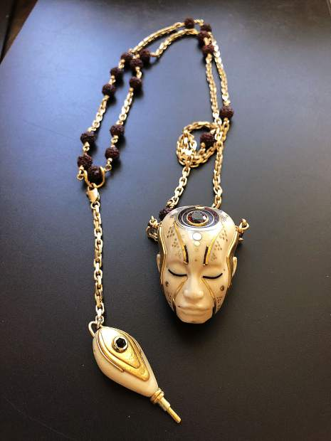 An exquisite sample of Judicael Vales' sacred skull talisman creations, which can be found at Sacred Skulls Tattoo Studio & Gallery on Broad Street in Nevada City.