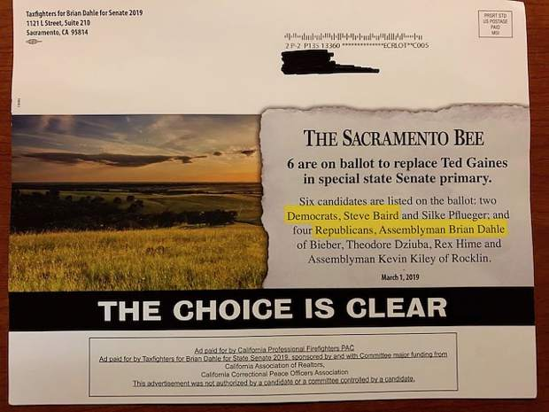Taxfighters for Brian Dahle for Senate 2019 recently circulating a mailer supporting Dahle, highlighting his name as the choice for Republicans and that of Steve Baird as the choice for Democrats -- though Baird withdrew from the race in February.