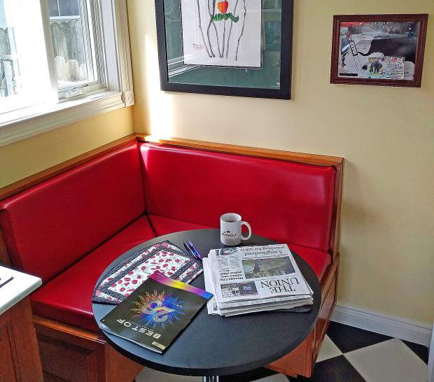 Morning coffee in a Grass Valley nook. Can you find the elephant in the room? Then find his handiwork?