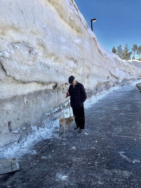 Snow pack at Donner Pass Rest Area last weekend.