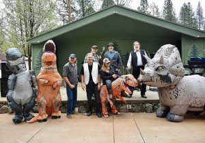 Nevada County Captures: Runnin'4Cover band with Fire Safe mascots