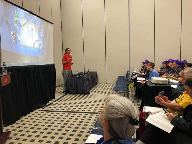 Part of the events includes the FIRST World Championship Conference, with sessions on topics ranging from technical skills to fundraising to networking. The teams software captain, Kelly Muir, presented a conference session on Motion Planning and Control in FTC.