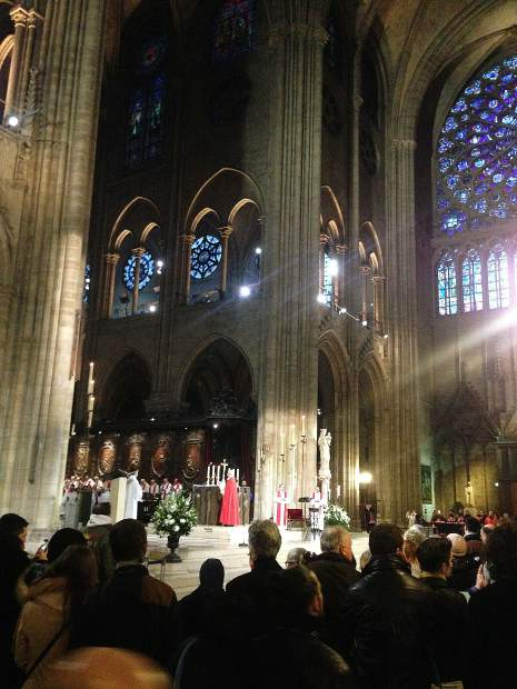 Inside the Notre Dame Cathedral in France, February 2017.