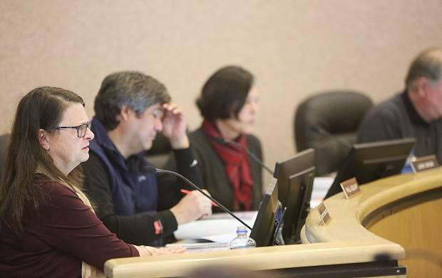 Nevada County planning commissioners ask questions of staff during Thursday's meeting regarding the proposed cannabis ordinance.
