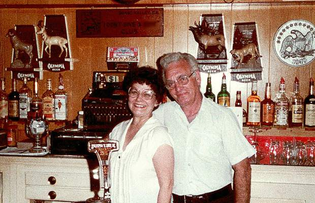 Bill Sirago was very close with his second wife, Edna, as shown from behind the bar of their establishment.