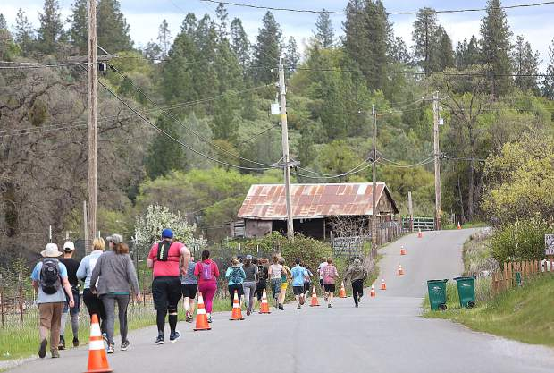 The 10K runners leave Owl Creek Rd and take on down Jones Bar Road Saturday morning. The race took them down to the South Yuba River and up along the fish ladder before returning to Owl Creek Road for the finish.