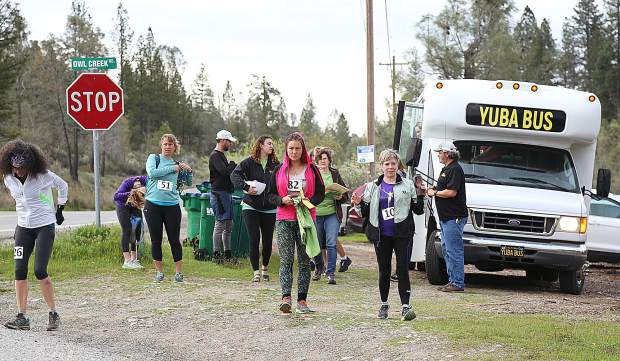 Runners arrived at the race start via the Yuba Bus from Camp Woolman where the Spring Festival took place following the Salmon 10K Run.