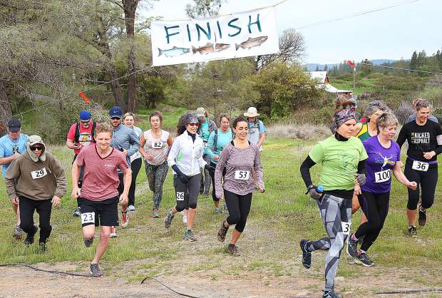 Two dozen runners braved the chilly morning temperatures and rough terrain of the South Yuba River Canyon to take part in the Woolman at Sierra Friends Center's 10K Salmon Run and Spring Festival.