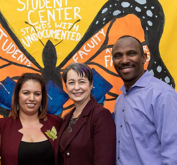 From left to right: Marisela Hernandez, Stephanie Ortiz and Steven Baissa, dean of equity. Hernandez is the coordinator for the undocumented center, which is meant to help students apply to college and succeed while they are there.