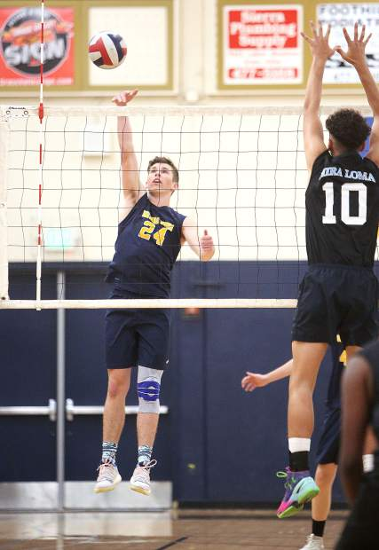 Nevada Union's Judah Myers (24) sneaks a point past the Mira Loma Matadors defense during Tuesday's playoff win.