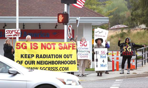 A May protest against 5G technology in Nevada County. Nevada City last week passed a telecom ordinance that becomes effective in weeks.