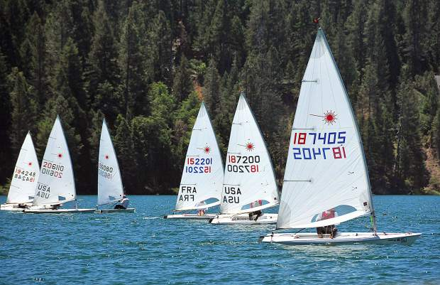 Led by Bob Gunion at right, a group of Lasers make their way towards the finish line during sail boat racing action of the Gold Country Regatta, on Scotts Flat reservoir last weekend.