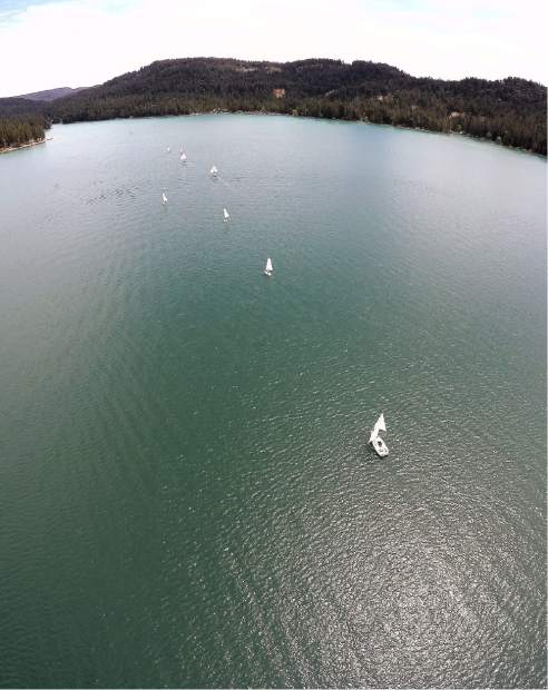 The Go For The Gold Regatta as seen from a birds eye view in 2017.