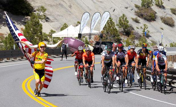 Tour of California riders received an escort during last year's race when the peloton went up and over Daggett Pass on Kingsbury Grade.