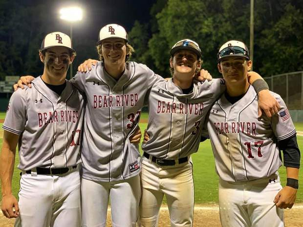 Bear River players (from left) Logan Jenkins, Taylor Chynoweth, Colby Lunsford and Nick Baltz helped the Bruins reach the Sac-Joaquin Section championship round for the first time since 2007.