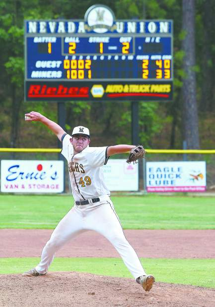 Nevada Union pitcher Nick Noll (49) tossed five innings, allowed four hits and two runs while striking out two. The Senior also had an RBI double in the Miners 14-4 playoff loss to Rio Americano Tuesday.