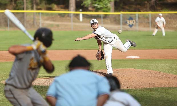 Miners' relief pitcher Devin Sunde (9) fires one of his signature sidearm pitches during the Miners' 7-2 loss to the Yuba City Honkers Wednesday at home. The Miners will host Rio Americano in the first round of the Division III playoffs Tuesday.