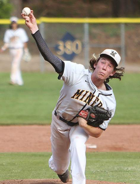 Nevada Union High School's Bennet King (17) fires a pitch towards a Yuba City Honkers batter during the Miners' 7-2 home loss Wednesday afternoon. The Miners will host Rio Americano in the first round of the Division III playoffs Tuesday.