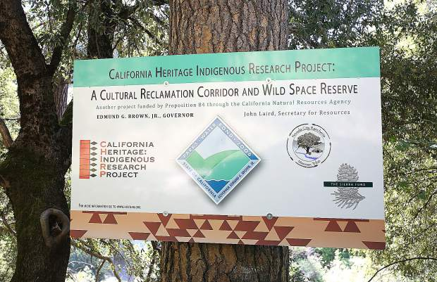 A sign denotes those involved in the cultural reclamation corridor and wild space reserve that is the 32 acres of land recently allocated to California Heritage: Indigenous Research Project.