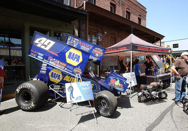 Nevada County native and Napa Auto Parts race driver Brad Sweet had his outlaw race car on display during the car show.