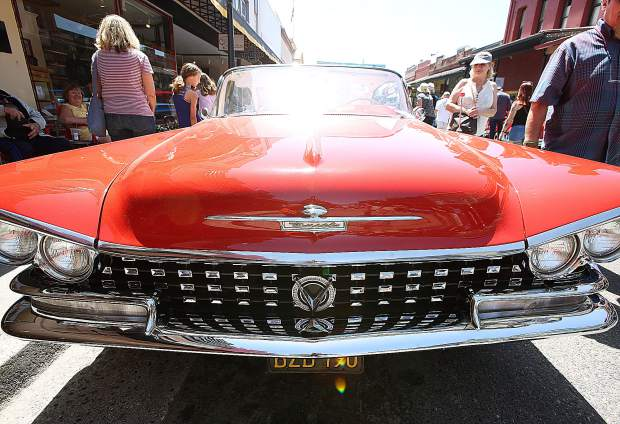 The unique front grill of a 1959 Buick LeSabre owned by Browns Valley's Dave Stipp is shown off during the 2019 downtown Grass Valley Car Show.