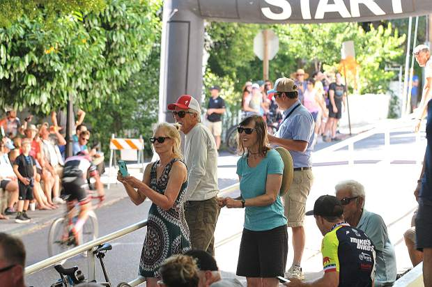 Spectators enjoy the shade near the Nevada County Courthouse last year where Sunday's Start/Finish line of the Nevada City Classic bicycle race.