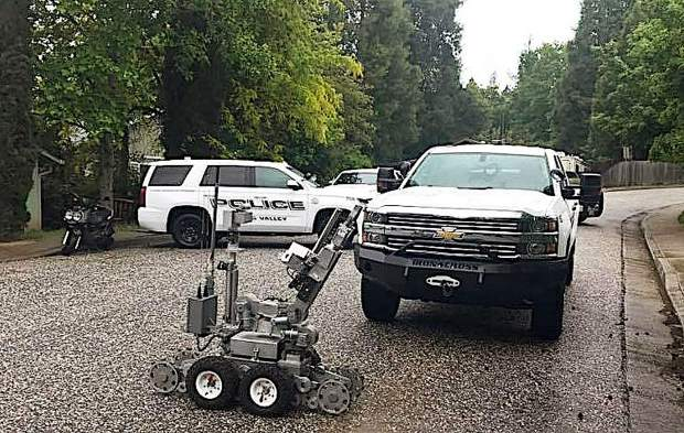 A bomb robot was used by Placer County's Explosive Ordinance Disposal team Saturday to defuse five bombs found in a Grass Valley residence.