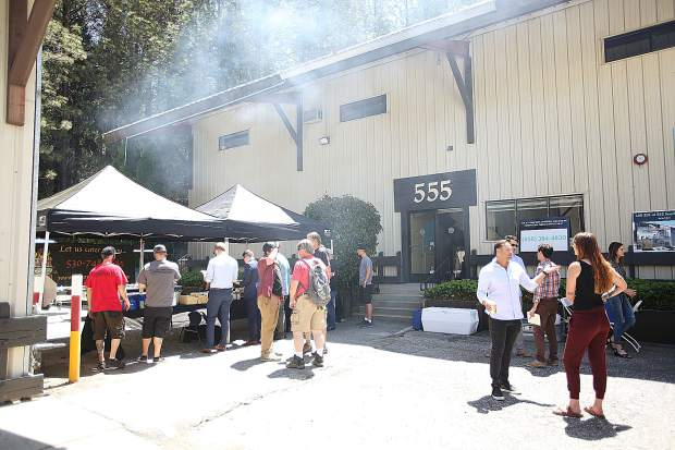 A hard hat barbecue was held for the community and potential investors to give them an opportunity to inspect the demolition work at the future cannabis campus on the 500 block of Searls Avenue in Nevada City.