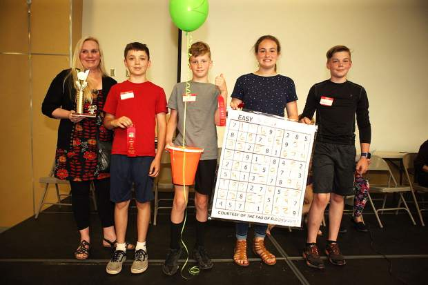 Second-place winners from Seven Hills included Spencer Rodgers, Brandon McCallum, Lucas Frisella, and Mackenzie Rist. The team was coached by fifth-grade teacher Julie Bair.