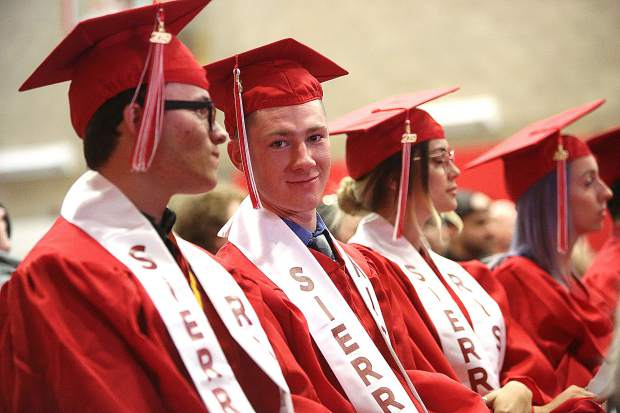 Sierra College Nevada County Campus students prepare to graduate during Thursday's commencement ceremony.