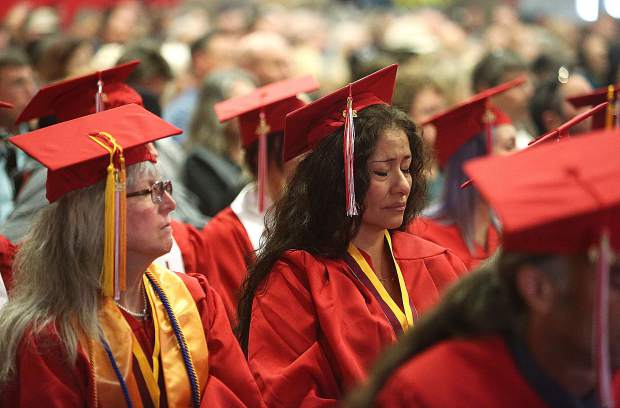Elifelet Sulamita Christensen experiences an emotional moment while listening to the speeches given by Sierra College Nevada County Campus faculty during Thursday's graduation ceremonies.