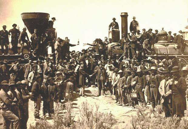 The golden spike, or last spike, was the final spike driven by Leland Stanford to join the rails of the First Transcontinental Railroad across the United States connecting the Central Pacific and Union Pacific railroads on May 10, 1869, at Promontory Summit, Utah Territory.