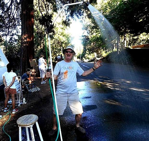 Jonathan Meredith will again offer cooling showers to bicyclists competing in next weekend's 59th Annual Nevada City Classic Pro/Am Bicycle Race.