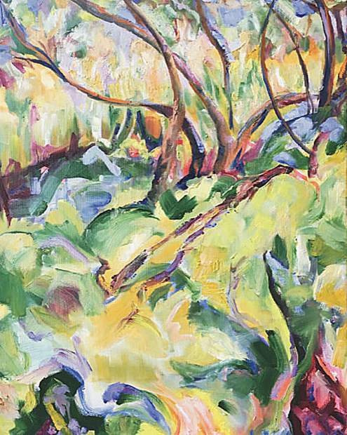 One of artist Jill Mahanna's pieces, called Spring Trees.