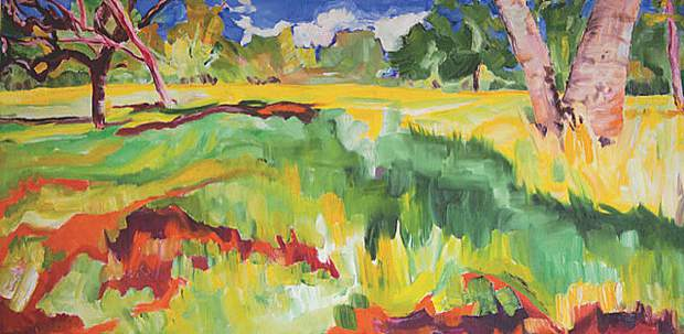 Nevada City Windery is holding a reception for artist Jill Mahanna on Friday. This is her work, Sierra Meadow.