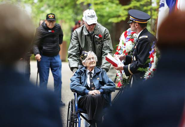 The last remaining World War II veterans in attendance of Grass Valley's Memorial Day ceremony, were honored and their contact info collected.