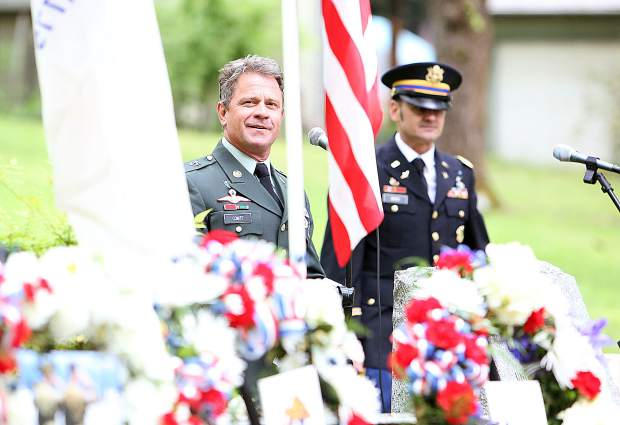 Grass Valley Memorial Day keynote speaker Brian Comte U.S. Army MSG. (Ret.) smiles before giving his speech, explaining that he smiles because he is surrounded by so many fellow friends, family members, and warriors that fought for the country during Monday's ceremony.