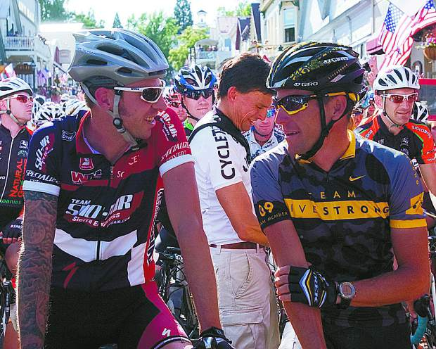 Published: Chris McGovern, a pro cyclist from Nevada City, chats with Lance Armstrong at the start line before Sunday's Nevada City Classic.