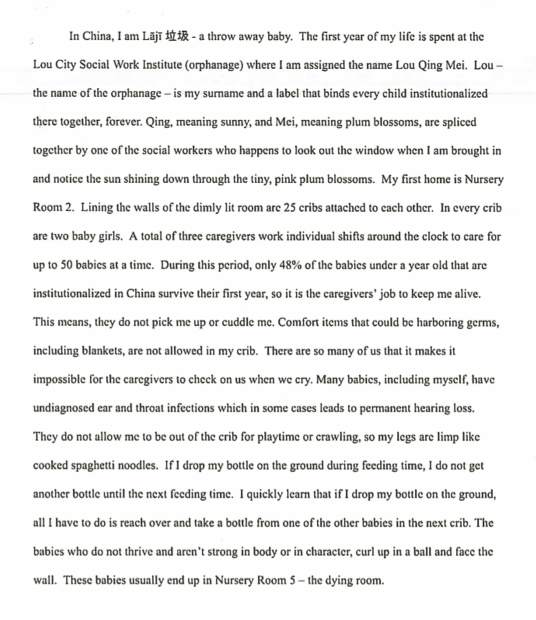Aneka Torgrimson (Nevada Union) took first place for her writing on being delivered to an orphanage in Hunan Province, China, during her infancy. Second of three pages.