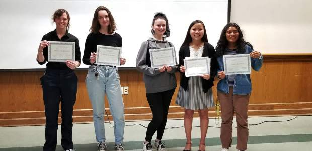 Finalists and honorable mentions from the Nevada County Writes Awards Ceremony. From Left to Right: Briana Johnston (Nevada Union) Kacie Harmon (Ghidotti), Briar Bilderback (Silver Springs), Alma Ramirez (Nevada Union) and Aneka Torgrimson (Nevada Union).
